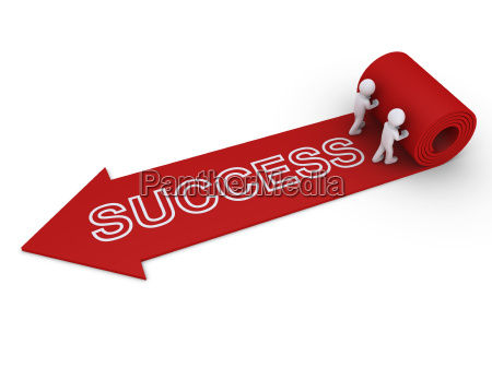 two people unroll carpet of success