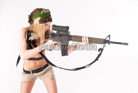 beautiful sexy blond woman with sniper