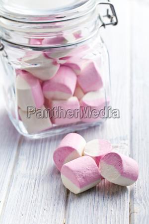 marshmallows dolci in vaso di vetro