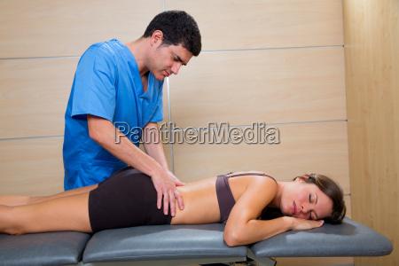 doctor lumbar exploration on woman patient