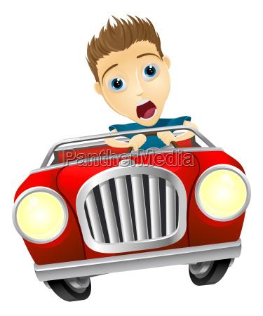 cartoon man driving fast car
