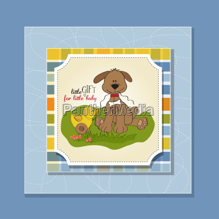 baby shower card with dog and