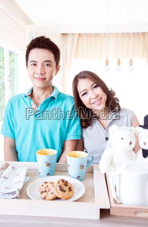 couple with breakfast