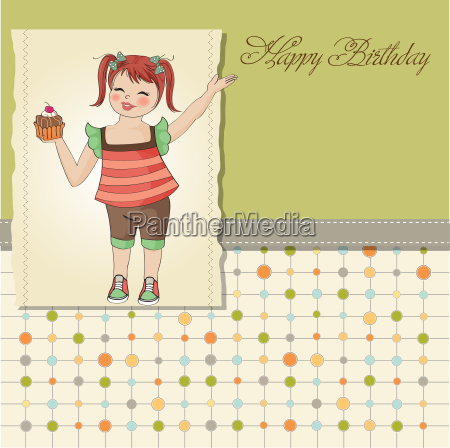 birthday greeting card with girl and