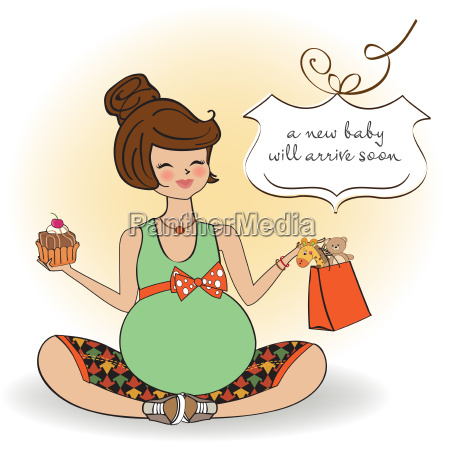 baby announcement card with pregnant woman