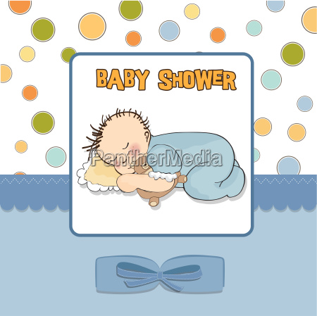 baby shower card with little baby
