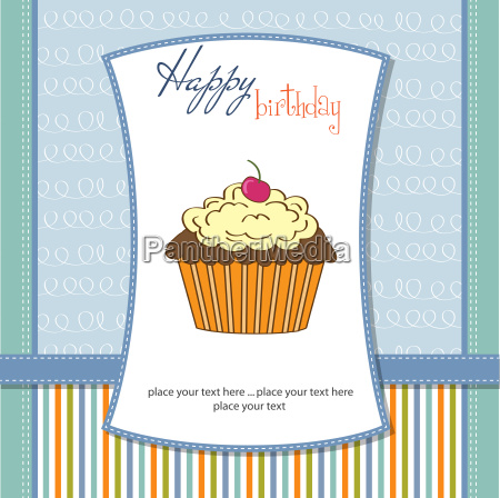 cute happy birthday card with cupcake
