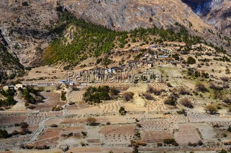 detail of himalayas village upper pisang