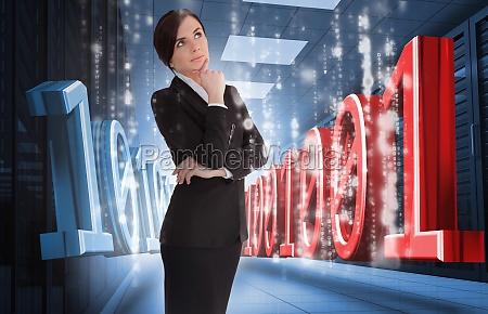 businesswoman thinking of binary code in