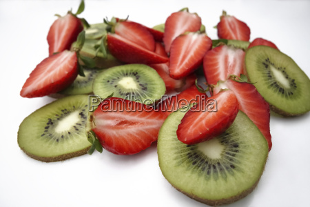 fruits cut strawberries and kiwis