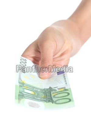woman paying a one hundred euros