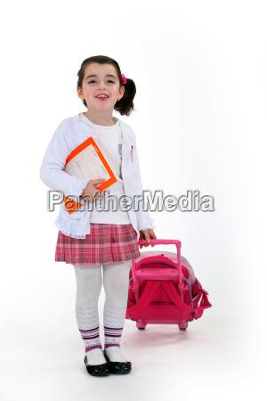 educacion caucasico mochila vestidos impertinente lindo