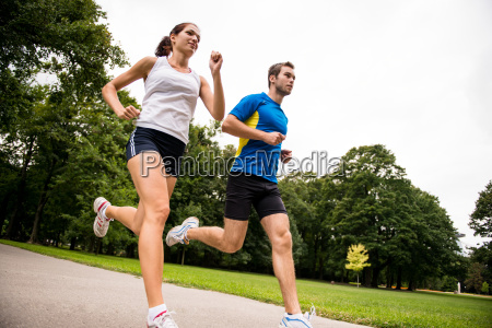 jogging together sport young couple