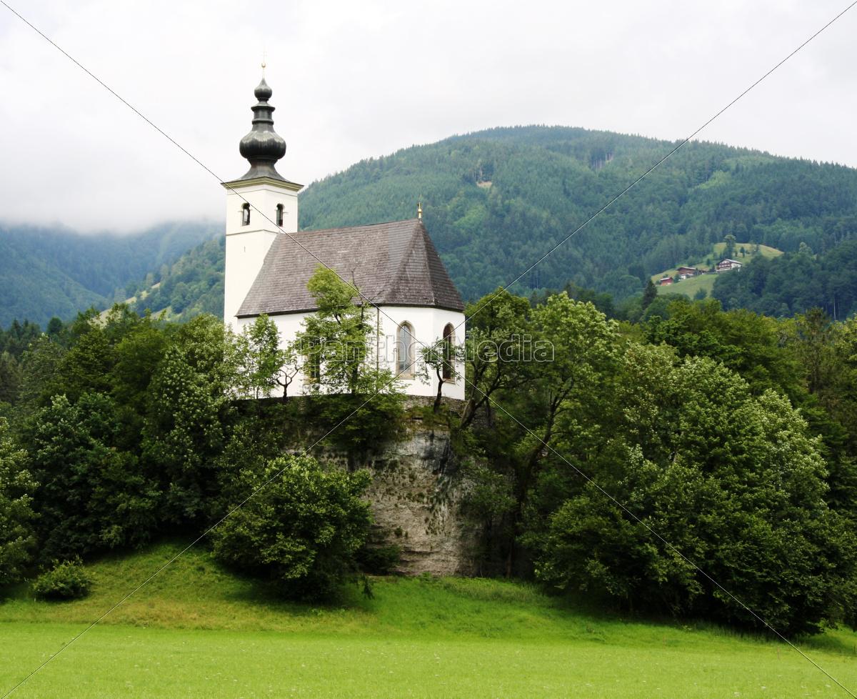 tree, trees, mountains, chapel, steeple, meadow - 9321336