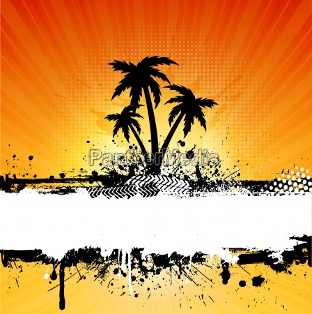 grunge palm trees background
