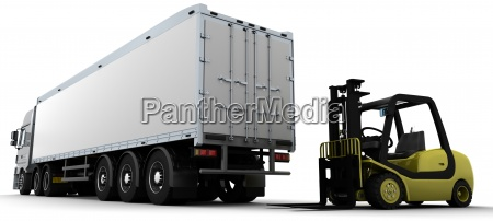 yellow fork lift truck isolated on