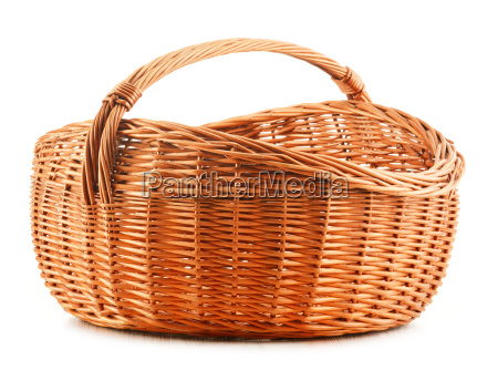 empty wicker kitchen bowl isolated on