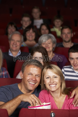 couple watching film in cinema