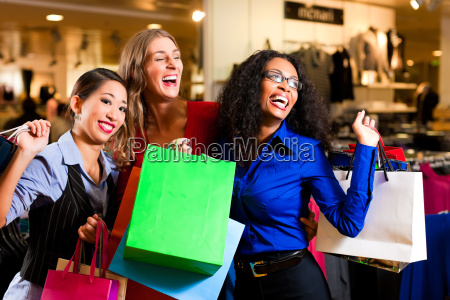 girlfriends while shopping in a department