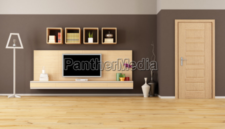 brown living room with led tv