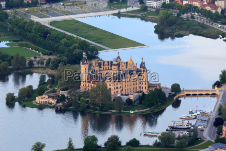 schwerin castle with castle grounds as