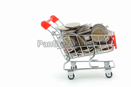 isolated shopping cart with full wealth