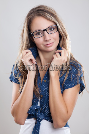 cute woman with glasses