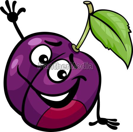 funny plum fruit cartoon illustration