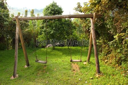 rustic wooden swing set