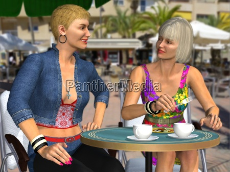 two attractive women gossiping with each