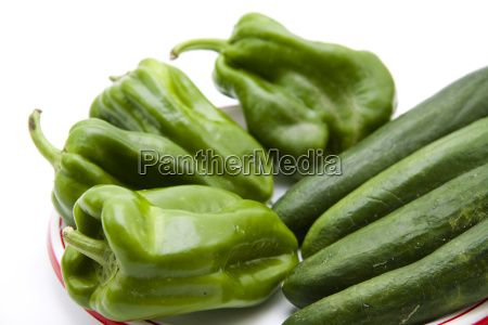 fresh paprika with cucumbers