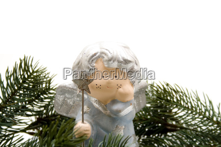 christmas angel with pine branches