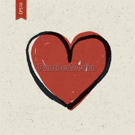 heart sign on paper texture vector