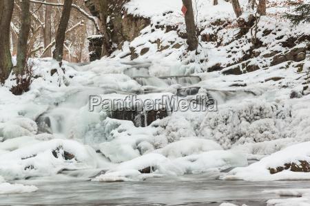 selke waterfall in winter