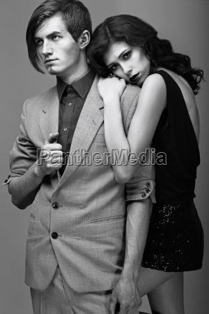 tenderness fondness beautiful couple embracing