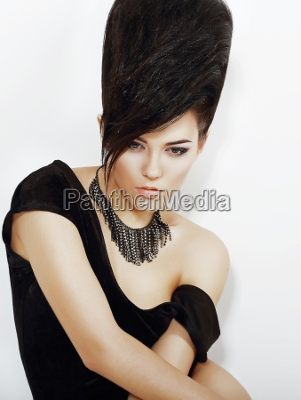 sentiment pensive bright woman with black