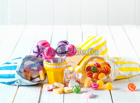 assortment of candies in bags and