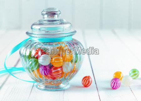 colourful candy in a decorative jar