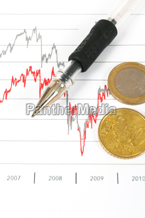 stock market graphs with pen and