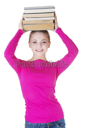 woman student with bookd on her