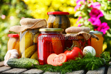 jars of pickled vegetables in the