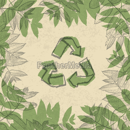 recycle symbol printed on reuse paper