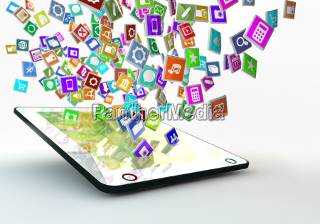 tablet pc with cloud of application