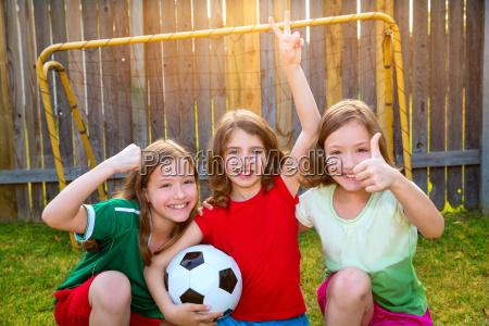 three sister girls friends soccer football