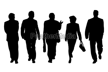 group of business people walking and