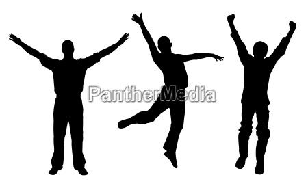 winners and happy men vector eps