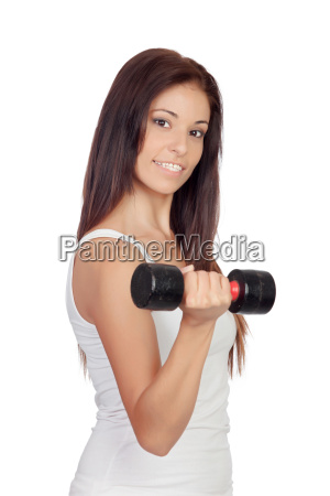 attractive brunette girl tightening their muscles