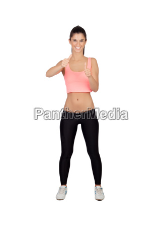 attractive girl with sports clothes saying