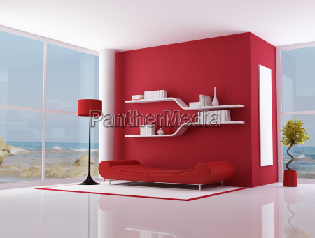 red interior of a beach villa