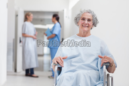 elderly patient in corridor